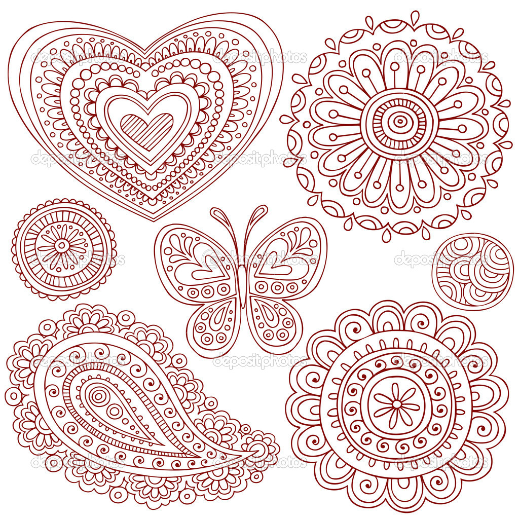 Hand-Drawn Henna Mehndi Tattoo Paisley Flowers Doodles Vector Illustration Design Elements   Stock Vector #8693597