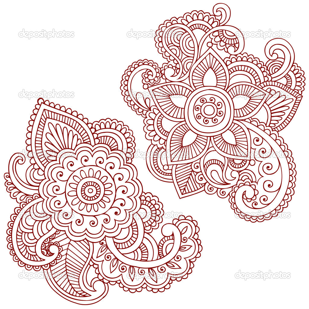 Hand-Drawn Flowers Henna Mehndi Tattoo Paisley Doodles Vector Illustration Design Elements  — Stock Vector #8693638