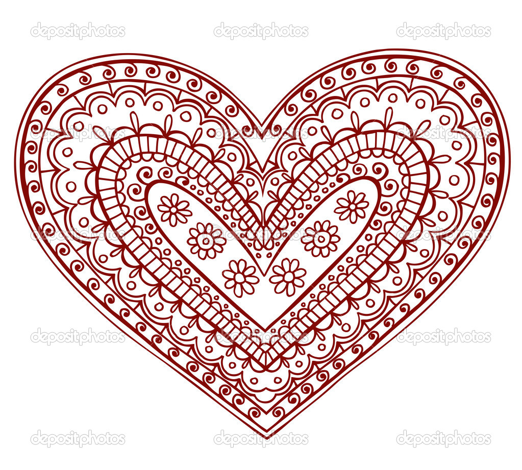 Hand-Drawn Heart Henna Mehndi Tattoo Paisley Flowers Doodles Vector Illustration Design Elements  — Stock Vector #8693697