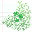 Sketchy St Patricks Day Four Leaf Clovers Doodle Vector — Stock Vector #8759278