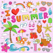 I Love Summer Vacation Notebok Doodles Vector Set — Stock Vector #8772453