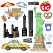 New york city manhattan doodles set vector — Vecteur #8772455