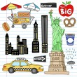 New York City Manhattan Doodles Vector Set — Stock Vector