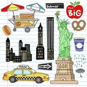 New York City Manhattan Doodles Vector Set — Stock Vector