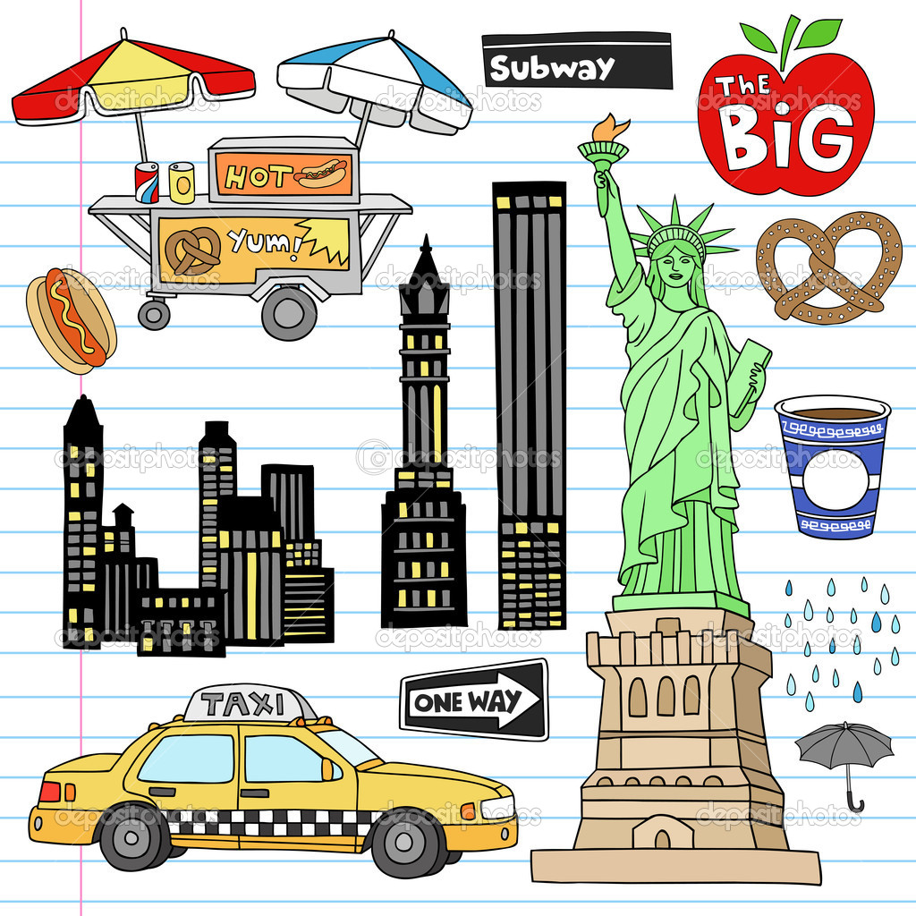 new york city manhattan doodles vector set stock vector statue of liberty clip art free statue of liberty clipart immigrants welcome