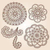 Henna Tattoo Paisley Flower Doodles Vector — Stock Vector