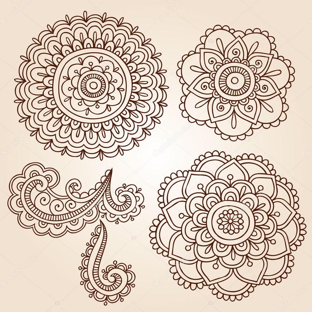 Henna Tattoo Vector: Henna Tattoo Paisley Flower Doodles Vector