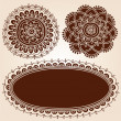 Henna Flower Picture Frames Silhouette Vector Set - Stock Vector