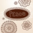 Henna Frame and Tattoo Paisley Flower Doodles Vector - Stock Vector