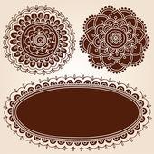 Henna Flower Picture Frames Silhouette Vector Set — Stock Vector