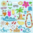 Summer Vacation Notebok Doodles Vector Set — Stock Vector