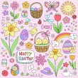 Easter Spring Notebook Doodles Vector Design — Stock Vector