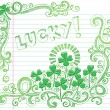 Stock Vector: St Patricks Day Lucky Four Leaf Clover Sketchy Doodle