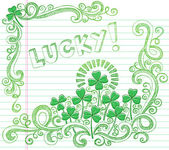St Patricks Day Lucky Four Leaf Clover Sketchy Doodle — Stock Vector