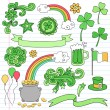 St Patrick;s Day Icon Set Vector Design Elements — Stock Vector