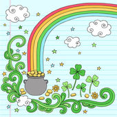 Pot of Gold at the End of the Rainbow Vector Design — Stock Vector