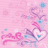 Back to School Heart Sketchy Doodles Vector — Vector de stock