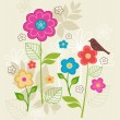 Hand-Drawn Floral & Bird Seamless Repeat Pattern — Stock Vector