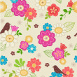 Hand-Drawn Floral & Bird Seamless Repeat Pattern - Stock Vector