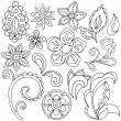 Hand-Drawn Abstract Henna Paisley Vector Illustration Doodle - Stock Vector