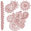 Stock Vector: HennPaisley Flower Doodle Vector Design Elements