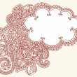 Henna Paisley Flower Doodle CLoud Frame Vector Design Element - Stock Vector