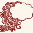 Hand-Drawn Cloud Shaped Henna - Stock Vector