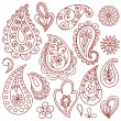 Henna Paisley Flower Doodle Vector Design Elements Set - Stock Vector