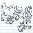 Hearts Sketchy Doodle Swirls Vector Design Elements — 图库矢量图片