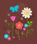 Hand-Drawn Floral & Butterfly Design- — Stock Vector