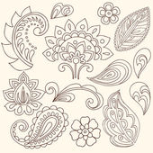 手描き抽象ヘナ ペーズリー ベクトル イラスト落書き — ストックベクタ