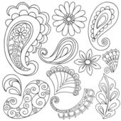 Hand-Drawn Abstract Henna Paisley Vector Illustration Doodle — Stock Vector
