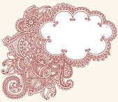 Henna Paisley Flower Doodle CLoud Frame Vector Design Element — Stock Vector
