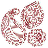 Henna Tattoo Paisley Flower Doodle Vector Design Elements Set — Stock Vector