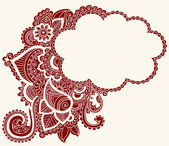 Hand-Drawn Cloud Shaped Henna — Stock Vector