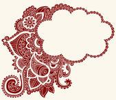 Hand-Drawn Cloud Shaped Henna — Stock Vector