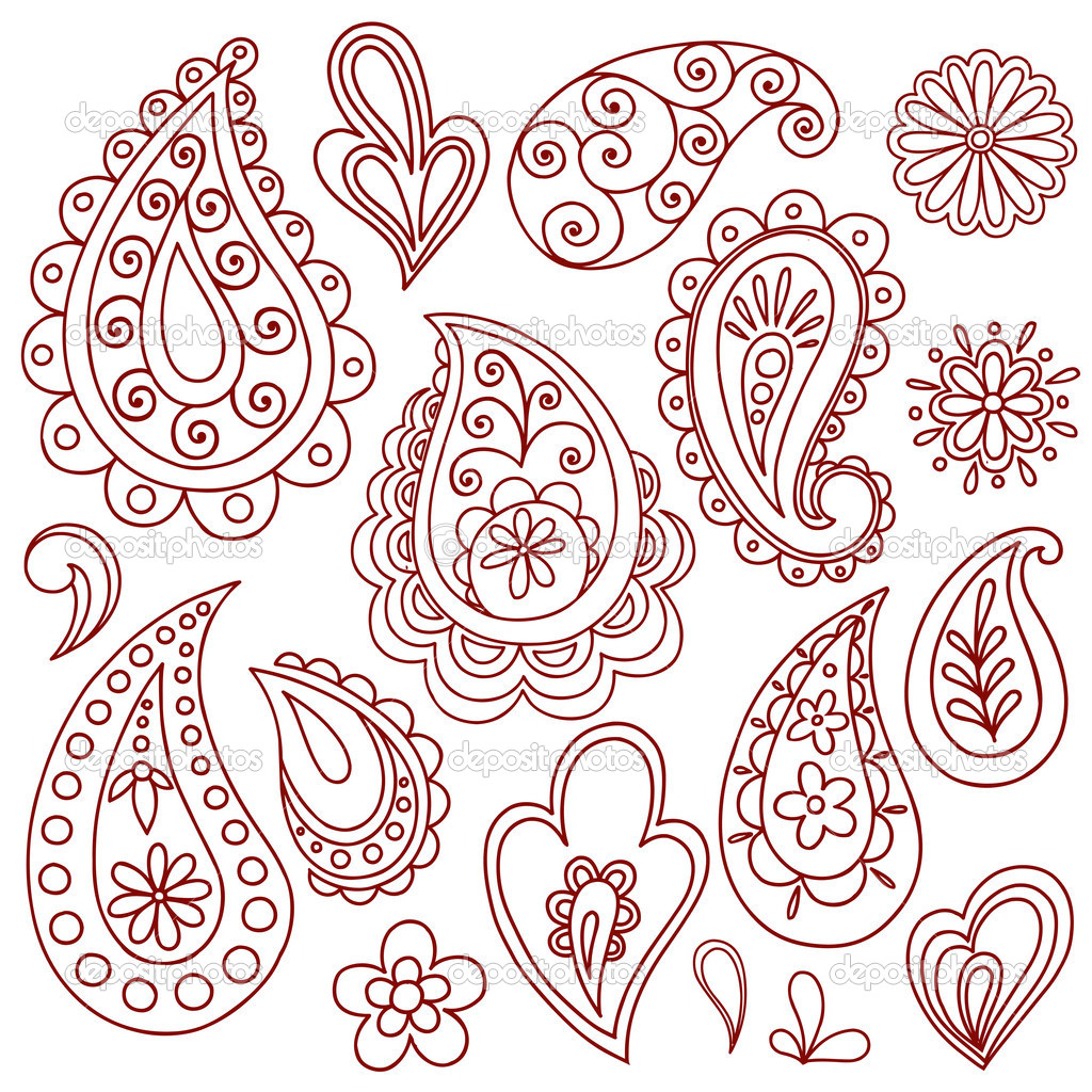 Henna / Mehndi Paisley Flower Doodle Design Elements Set- Vector Illustration — Stock Vector #9127236