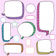 Speech Bubbles 3D Notebook Doodles Vector Set — Stock Vector