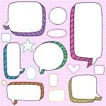 Speech Bubbles 3D Notebook Doodles Vector Set — Stock Vector