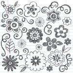 Flowers Sketchy Notebook Doodles Vector Design Elements — Stock Vector #9263830