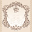 Vintage Henna Paisley Flower Frame Doodle Vector Border — Stock Vector #9299091