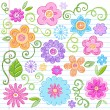 Flowers Sketchy Notebook Doodles Vector Design Elements - Stock Vector