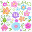 Flowers Sketchy Notebook Doodles Vector Design Elements — Imagens vectoriais em stock