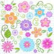 yarım yamalak defter doodles çiçek tasarım öğeleri vektör — Stok Vektör