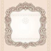 Vintage Henna Paisley Flower Frame Doodle Vector Border — Stock Vector