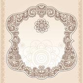 Vintage Henna Paisley Flower Frame Doodle Vector Border — Stock Vector