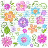 Flowers Sketchy Notebook Doodles Vector Design Elements — Stock Vector
