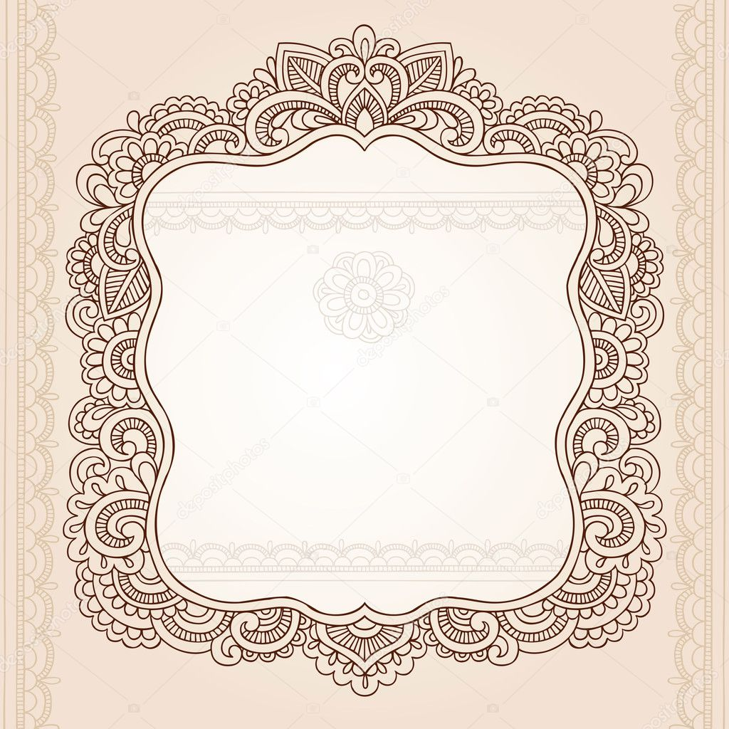 Henna Paisley Flower Frame Doodle Vector Border - Stock Illustration