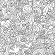 Retro Doodles Seamless Repeat Pattern Vector - Stock Vector
