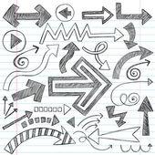 Arrows Sketchy Notebook Doodles Vector Design Elements — Stock Vector
